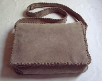 Tan Suede Crossstitched Shoulder or Crossbody Messenger Bag
