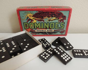48 Vintage Wooden Dominoes 1950s Dragon Design Partial Set Missing Four Tiles Hal-San No. 920 Made in USA Crafts Jewelry Making Mosaics