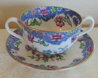 RARE Vintage Spode's REGAL Copeland Two-Handled Soup or Bouillon Cup and Saucer Set Made in England Romantic Table Wedding Gift Tea Party