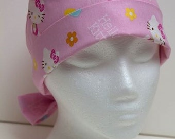 Ladies Surgical Scrub Hat - Chemo Cap - Pixie - Hello Kitty