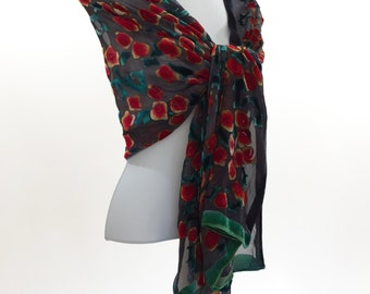 Hand Painted Black silk-Velvet Shawl, Silk Wrap, Hand Dyed scarf, Roses in Black and Red