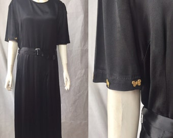 Early 30s heavy satin dress with brass butterflies