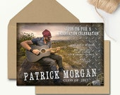 Boy Graduation Invitation Template Rustic Senior Graduation Announcement Printable Grad Invites Steampunk Metal Industrial Photo Grad DIY