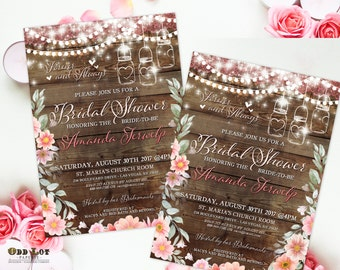 Floral Bridal Shower Invitations Boho Chic Invite Printable Wedding Invitation Rustic Wedding, Mason Jars Flowers Wood, bohemian invitations