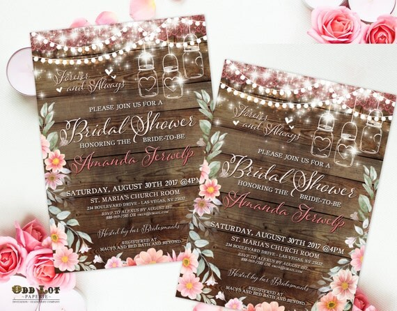 Boho Chic Wedding Invitations: Floral Bridal Shower Invitations Boho Chic Invite