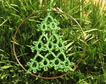 Handmade Tatted Lace Christmas Ornaments - Set of 6 Trees