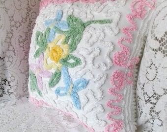 """Chenille Pillow, Handmade Pillow, Vintage Chenille Pillow, Nursery Pillow, Large Pillow, Throw Pillow, Accent Pillow, 20"""" x 19"""", Pillow #C4"""