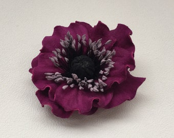 Violet leather flower brooch, Leather brooch, Handmade flower, Bridesmaid flower, Mother of the bride flower, Mothers day gift, Gift for her