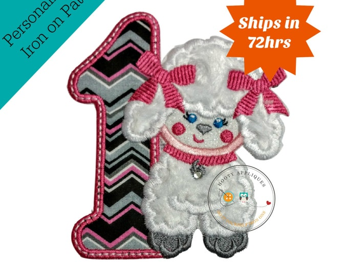 Paris poodle first birthday number iron on applique, Embroidered chevron 1st birthday patch, girl Paris party theme iron on applique, girls