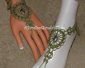 Crochet Barefoot Sandals Gifts Turtle Beachwear Anklet Bracelet Rings Foot Hand Jewelry Shoes Footwear