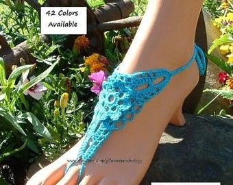 Crochet Barefoot Sandals Beach Wedding Foot Jewelry Accessories Bohemian Hippie Women's Lace Beach Shoes on Sale Crochet Barefoot Sandals