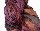 Recyled Sari Silk Ribbon Rustic Fall Burgundy Purple Brown Copper Mix Tassel Supply Dreamcatcher Garland Fair Trade Silk Fiber Art Supply