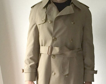 Stanley Blacker Men's Trenchcoat and Zipper In Wool Lining Size 38R