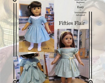 """PDF Pattern KDD04 """"Fifties Flair"""" -An Original KeepersDollyDuds Design, 18"""" Doll Clothes, Fits American Girl"""