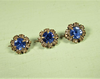 Tiny Blue Scatter Pins - Vintage Crystal Cluster Rhinestone Rosette GF Brooch