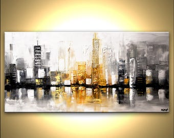 Cityscape Canvas Print - Stretched, Embellished & Ready-to-Hang  - City View - Art by Osnat