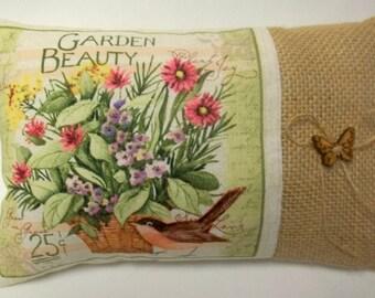 Floral Mini Pillow Shelf Pillow Garden Flowers And Bird