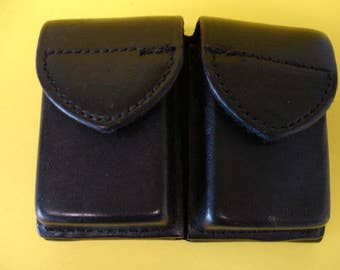 Police Or Military Safariland Double Pouch Magazine Ammo Holder Black Leather