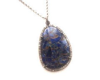 Pave Diamond Gorgeous Lapis Lazuli Pendant Oxidized Sterling Silver Gunmetal Necklace/ Long Necklace/BohoChic Necklace