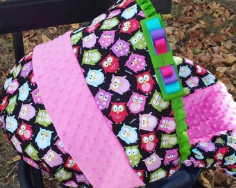 Owl pink lime Minky baby car seat cover infant seat cover slip cover universal fit pink minky evenflo graco baby trend chicco