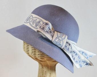 Women's Velour Felt Cloche in Powder Blue ~ Mac ~ 1930s, rain hat, classic, Miss Fisher ~ handmade by Bonnet, your local Portland millinery