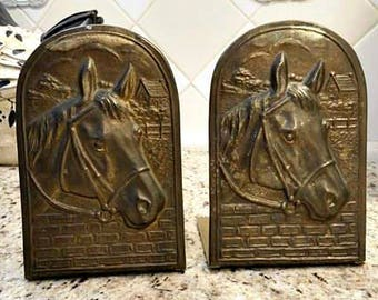 2 Vintage Brass HORSES IN BRIDLES Bookends Brick Wall Countryside Cottage House Clouds Horse Bridle Riding Western Book Lover Vtg Equestrian