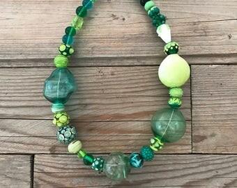 statement handblown green glass necklace