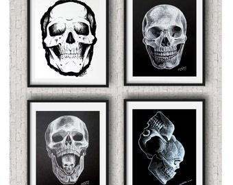 Skull wall art set of 4 unframed  Skull art prints  Skull art black and white Skull wall art