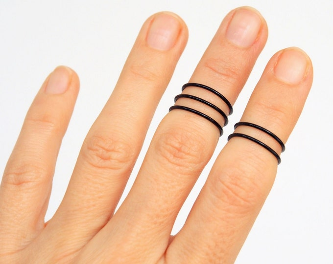 Knuckle ring Black midi rings set Gothic Stacking everyday Modern cool Most popular items jewelry top seller best selling shops best seller