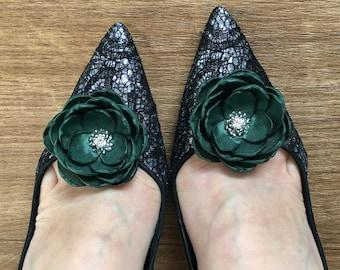 Bottle green fabric flower hair clip, handmade Wedding accessory sew on ornament, shoe clips, bridesmaid hair pin brooch, diamanté flowers