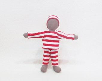 "Christmas pocket doll, 7"" soft cloth doll, stocking stuffer, brown cloth doll, multi cultural doll, gender neutral doll, shipping ready"