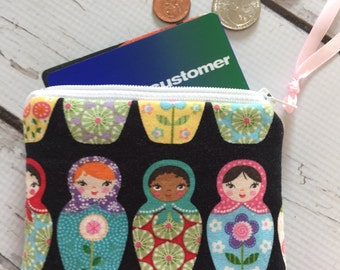 Small zipper bag, coing purse, , Nesting Dolls fabric ready to ship