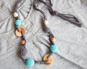 Grey Blue Nursing necklace  - Sling Accessory - breastfeeding necklace - Crochet Jewelry for New Moms - coconut ring