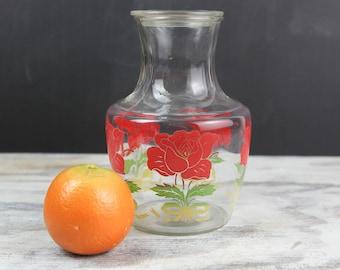 Vintage Rose Juice Carafe w/ original Glass Lid
