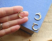 5 Gold Small Half Moon Horn Charms Dainty 20mm (GC3217)