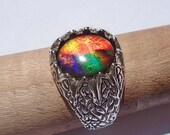 Reserved for Estelle ) Canadian Ammolite Sterling Silver Ring 10