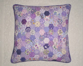 Patchwork Cushion Cover in Handstitched Hexagons - Lilac & Purple