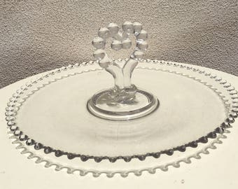 Vintage cottage chic serving platter tray with heart handle center Candlewick Boopie glass 12""