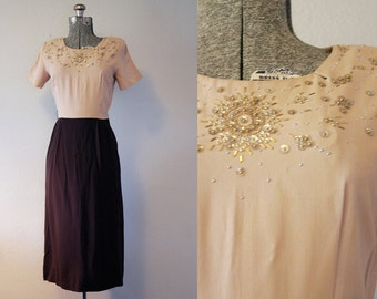1940's Brown and Nude Crepe Rayon Cocktail Dress / Size Small