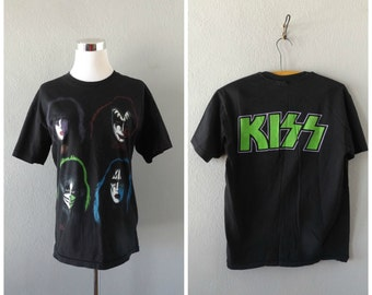 1991 KISS Band T Shirt | Vintage 90s Metal Rock Band Tee Size M/Medium Collectors Concert Tshirt Rocker Hipster Cotton T-shirt 1990s Hippie