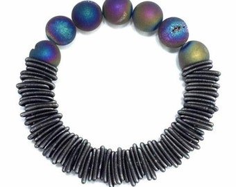 Piano Wire Bracelet Slate with Geode stones
