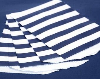 Navy Wide Stripe Paper Bags