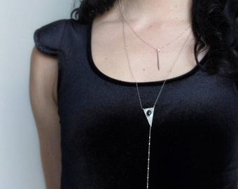 Minimal Silver Bar Necklace | Drop Bar Necklace | Sterling Silver |  Simple Jewelry | Everyday Jewelry | Vertical Bar |  Layering | Delicate