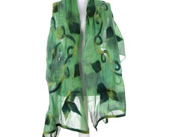 Scarf, Felt Scarf, Felted Scarf, Nuno Felted Scarf, Felted Shawl, Wrap Scarf, Silk Scarf, Felt Wrap, FAST shipment with UPS or FEDEX - 10531