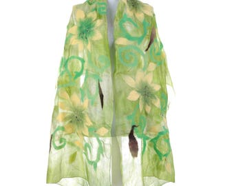 Scarf, Felt Scarf, Felted Scarf, Nuno Felted Scarf, Felted Shawl, Wrap Scarf, Silk Scarf, Felt Wrap, FAST shipment with UPS or FEDEX - 10536