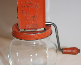 Vintage Nut Grinder Nutmeg Grinder Metal Glass Orange Top Wood Metal Handle