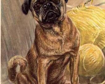 Vintage Pug Print  Decoupaged on Wood