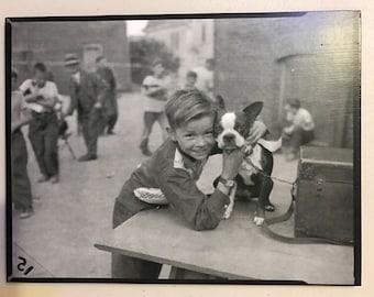 Vintage Boston Terrier with Little Boy Decoupaged on Wood
