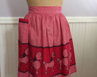 Women's Vintage Apron / 1950's Poodle Apron / Dining- Serving Attire / 50's Red and White Gingham Check Poodle Apron / Dog Breeder Collectib