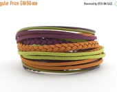 ON SALE New Year Violet Mustard Green Bohemian Wrap Bracelet, Green Purple Women Bracelet, Brown Ethnic Gypsy Bracelet, gift for her, double